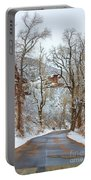 Red Rock Winter Road Portrait Portable Battery Charger