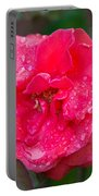 Savannah Ga Red Rose After A Rain Portable Battery Charger