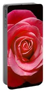 Red Rose On Black Portable Battery Charger