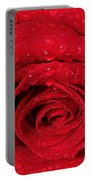 Red Rose And Water Drops Portable Battery Charger