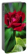 Red Rose Green Background Portable Battery Charger