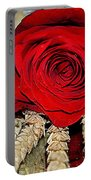 Red Rose On A Bed Of Wheat Portable Battery Charger