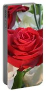 Red Rose With Garden Background  Portable Battery Charger