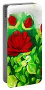 Red Roses From The Garden Impression Portable Battery Charger
