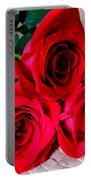 Red Roses On Lauhala Portable Battery Charger