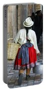 Red Skirted Woman Of Cuenca Portable Battery Charger