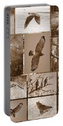 Red-shouldered Hawk Poster - Sepia Portable Battery Charger by Carol Groenen