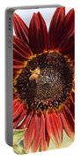 Red Sunflower And Bee Portable Battery Charger by Kerri Mortenson