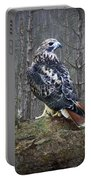 Red Tailed Hawk Perched On A Rock Portable Battery Charger