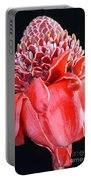 Red Torch Ginger On Black Portable Battery Charger