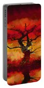 Red Tree Of Life Portable Battery Charger by Pixel Chimp