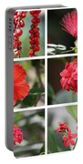 Red Tropicals Collage Portable Battery Charger