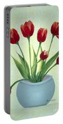 Red Tulips In A Pot Portable Battery Charger