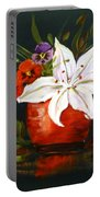 Red Vase With Lily And Pansies Portable Battery Charger
