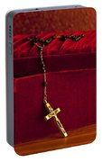 Red Velvet Box With Cross And Rosary Portable Battery Charger