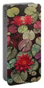 Red Water Lilies Portable Battery Charger