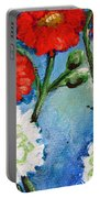 Red White And Blue Flowers Portable Battery Charger