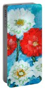 Red White And Blue Zinnia Flowers Portable Battery Charger