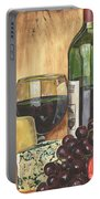 Red Wine And Cheese Portable Battery Charger by Debbie DeWitt