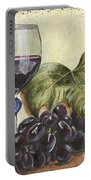 Red Wine And Grape Leaf Portable Battery Charger by Debbie DeWitt