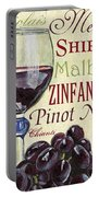 Red Wine Text Portable Battery Charger by Debbie DeWitt