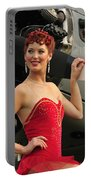 Redhead Pin-up Girl In 1940s Style Portable Battery Charger by Christian Kieffer