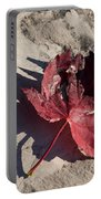 Reds And Purples - Deep Red Maple Leaf And Its Shadow Portable Battery Charger