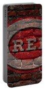 Reds Baseball Graffiti On Brick  Portable Battery Charger