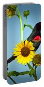 Redwing In Sunflowers Portable Battery Charger