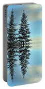 Reflecting Evergreens In Winter Portable Battery Charger