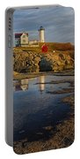 Reflecting On Nubble Lighthouse Portable Battery Charger by Susan Candelario
