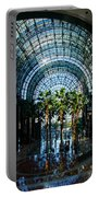Reflecting On Palm Trees And Arches Portable Battery Charger by Georgia Mizuleva