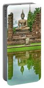 Reflecting Pool At Wat Mahathat In 13th Century Sukhothai Historical Park-thailand Portable Battery Charger