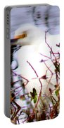 Reflection Of A Snowy Egret Portable Battery Charger
