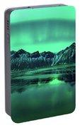 Reflection Of Aurora Borealis Portable Battery Charger