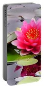 Reflections Of A Pink Waterlily  Portable Battery Charger