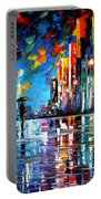 Reflections Of The Blue Rain - Palette Knife Oil Painting On Canvas By Leonid Afremov Portable Battery Charger