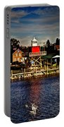 Reflections..two Rivers Pierhead Lighthouse Portable Battery Charger
