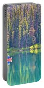 Reflective Fishing On Emerald Lake In Yoho National Park-british Columbia-canada  Portable Battery Charger