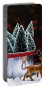 Reindeer With Christmas Trees Portable Battery Charger