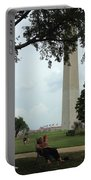 Relaxing By The Washington Monument Portable Battery Charger