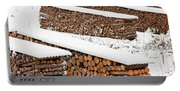 Renewable Heat Source Firewood Stacked In Winter Portable Battery Charger