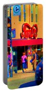 Restaurant Amir Internet Cafe Fast Food Plateau Montreal City Street Scene Art Carole Spandau  Portable Battery Charger