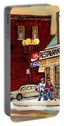 Restaurant Greenspot And Coin Vert Boutique Fleuriste Montreal Winter Street Hockey Scenes Portable Battery Charger