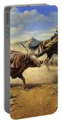 Restraint 2 Cowboys Roping A Steer Portable Battery Charger