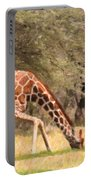 Reticulated Giraffe Drinking At Waterhole Kenya Portable Battery Charger