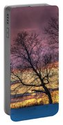 Retired Silo Watching Sunset Portable Battery Charger