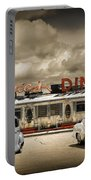 Retro Photo Of Historic Rosie's Diner With Vintage Automobiles Portable Battery Charger