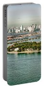 Retro Style Miami Skyline And Biscayne Bay Portable Battery Charger