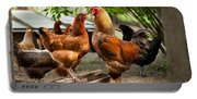 Rhode Island Red Chickens And Wooden Feeder  Portable Battery Charger
